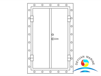 Marine Twin-leaves Square-corner Aluminium Hollowed Door For Boat