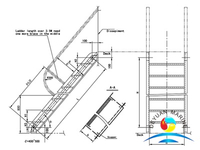 4667mm Model A&B Steel Inclined Ladder For Ship