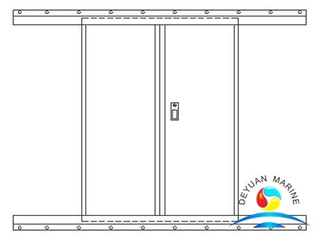 Boat Marine Twin-leaves Aluminium Sliding Door With IACS Certificate
